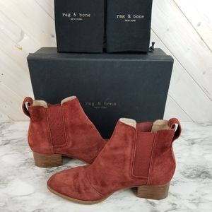 Rag & Bone | Rust Leather Suede Walker Booties